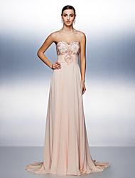 cheap -A-Line Prom Formal Evening Dress Strapless Sweep / Brush Train Chiffon with Sash / Ribbon Beading 2020