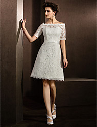 cheap -A-Line Bateau Neck Knee Length Lace Half Sleeve Formal / Casual Little White Dress / Illusion Detail Made-To-Measure Wedding Dresses with Sash / Ribbon 2020