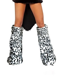 cheap -Women's Leopard Print Faux Fur Leg Warmers Christmas Accessories