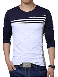 cheap -Men's Daily Sports Active Plus Size Slim T-shirt - Striped / Color Block Black & White, Patchwork Round Neck White / Long Sleeve / Summer