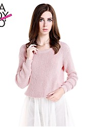 cheap -Women's Solid Colored Long Sleeve Regular Pullover Sweater Jumper Spring / Fall / Winter Pink