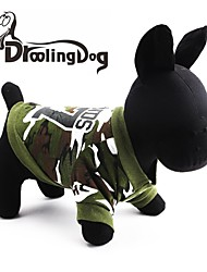 cheap -Cat Dog Hoodie Dog Clothes Camo / Camouflage Green Cotton Costume For Spring &  Fall