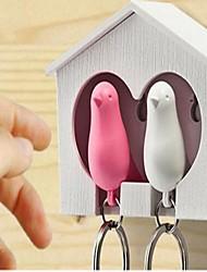 cheap -one set of 2pcs white wood house sparrow bird key chain random color