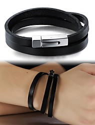 cheap -Men's Leather Bracelet Leather Bracelet Jewelry Black For Wedding Party Daily Casual Sports / Titanium Steel