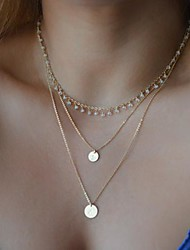cheap -Women's European Style Fashion Crystal Double Sequins Three-layer Necklace