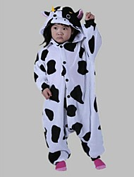 cheap -Kid's Kigurumi Pajamas Milk Cow Animal Onesie Pajamas Polar Fleece Cosplay For Boys and Girls Animal Sleepwear Cartoon Festival / Holiday Costumes