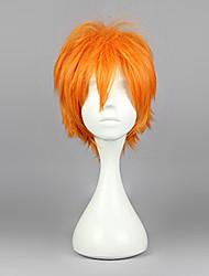 cheap -Haikyuu Hinata Syouyou Cosplay Wigs Men's 12 inch Heat Resistant Fiber Orange Anime