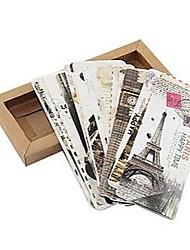 cheap -Different European Scenes Vintage France Paris Eiffel Tower Landscape Boxed Package Bookmark(30 PCS per Set)