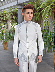 cheap -Tuxedos Slim Fit / Standard Fit Collar / Peak / Mandarin Collar One-Button / Single Breasted More-button Cotton / Polyester / Wool & Polyester Blend Pattern / Solid Colored / Fashion