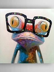 cheap -Hand Painted Oil Painting Animal Pop Art Happy Frog With Glasses On Canvas Wall Art With Stretched Frame or Rolled Without Frame