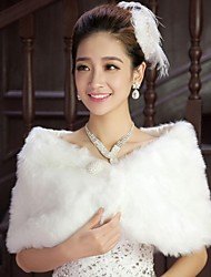 cheap -Sleeveless Shrugs Cotton Wedding / Party Evening Wedding  Wraps / Fur Wraps With Pearl / Feathers / Fur / Scales