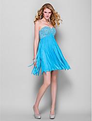cheap -Sheath / Column Cocktail Party Dress Sweetheart Neckline Sleeveless Short / Mini Chiffon with Beading 2021