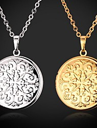 cheap -Women's Choker Necklace Pendant Necklace Lockets Necklace Floating Locket Cameo Engraved Ladies Fashion Copper Platinum Plated Gold Plated Silver Golden Necklace Jewelry For Wedding Party Daily Casual