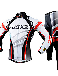 cheap -FJQXZ Men's Long Sleeve Cycling Jersey with Tights White Bike Clothing Suit Breathable 3D Pad Quick Dry Ultraviolet Resistant Back Pocket Winter Sports Polyester Mesh Curve Mountain Bike MTB Road