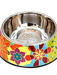 cheap -Abstract Flowers Pattern Stainless Steel Food Bowl for Pets Dogs