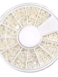 cheap -mixed size semicircle white pearl nail art decorations