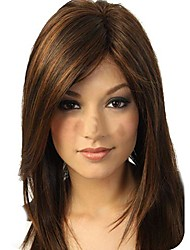 cheap -Synthetic Wig Straight Straight Layered Haircut Full Lace Wig Long Dark Brown Synthetic Hair Women's Waterfall Brown