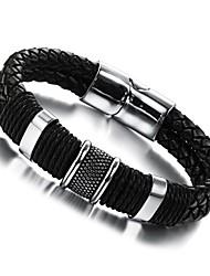 cheap -Men's Leather Bracelet woven Unique Design Fashion Leather Bracelet Jewelry Silver / Black For Party Wedding Casual Daily Sports / Titanium Steel