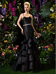 cheap -TS Couture Formal Evening Dress - Black Fit & Flare Spaghetti Straps Sweep/Brush Train Satin