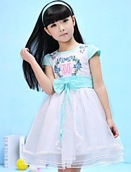 cheap -Kid's Cute Color Block Print Half Sleeve Long Long Cotton Dress Pink