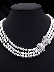 cheap -Women's Pearl Choker Necklace Chain Necklace Collar Necklace Layered Beads Bowknot Ladies Elegant Bridal Multi Layer Pearl Imitation Pearl Rhinestone Necklace Jewelry For Wedding Party Anniversary