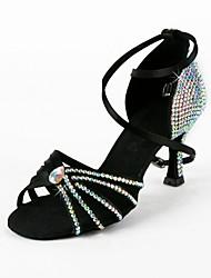 cheap -Women's Dance Shoes Satin Latin Shoes / Salsa Shoes Rhinestone Sandal Flared Heel Non Customizable Black / Suede / EU39