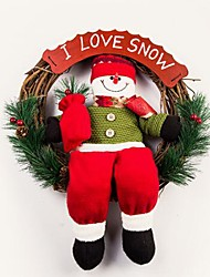 cheap -Jubilant Christmas Snowman Rattan Ring Door hanging Christmas Decorating Wreath