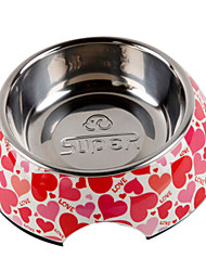 cheap -Heart-shaped Pattern Stainless Steel Food Bowl for Pets Dogs