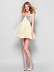 cheap -A-Line Sparkle & Shine Homecoming Cocktail Party Prom Dress Strapless Sleeveless Short / Mini Chiffon with Sequin 2021