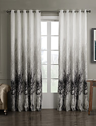 cheap -One Panel Grommet Top Ink Painting Style Trees Energy Saving Curtain
