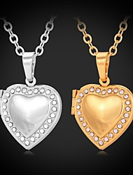 cheap -Women's Synthetic Diamond Choker Necklace Pendant Necklace Lockets Necklace Engraved Heart Love Ladies Fashion Rhinestone Platinum Plated Gold Plated Silver Golden Necklace Jewelry For Wedding Party