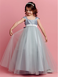 cheap -Ball Gown Floor Length Pageant Flower Girl Dresses - Taffeta / Tulle Short Sleeve Square Neck with Sash / Ribbon / Bow(s) / Spring / Summer / Fall