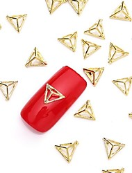 cheap -50pcs 3d gold nail art alloy slice metallic golden stud glittery rivet nail jewelery for nail design