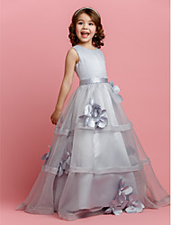 cheap -A-Line Floor Length Flower Girl Dress - Organza / Satin Sleeveless Jewel Neck with Buttons / Sash / Ribbon / Flower by LAN TING BRIDE® / Spring / Summer / Fall