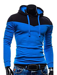 cheap -Men's Active Long Sleeve Slim Hoodie - Color Block Patchwork Wine L / Fall