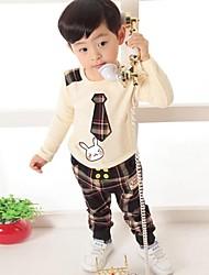 cheap -Check Long Sleeve Regular Cotton Clothing Set Brown