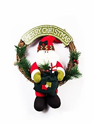 cheap -Exquisite Handmade Christmas Snowman Rattan Ring Door hanging Christmas Decorating Wreath
