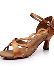 cheap -Women's Dance Shoes Silk Latin Shoes / Ballroom Shoes Buckle / Ribbon Tie Sandal Customized Heel Customizable Black / Brown / Orange / Leather / EU37