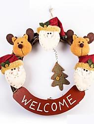 cheap -Exquisite Handmade Christmas Santa Rattan Ring Door hanging Christmas Decorating Wreath