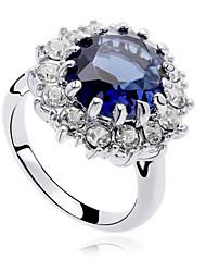 cheap -Statement Ring Crystal Round Cut Dark Blue Zircon Cubic Zirconia Alloy Cocktail Ring Luxury Fashion Blinging / Women's