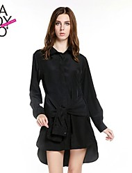 cheap -Women's Black Dress Street chic Spring Daily Sheath Solid Colored Lace up