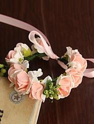 abordables -Fleurs de mariage Rond Roses Petit bouquet de fleurs au poignet Mariage La Fête / soirée Satin Papier