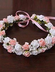 cheap -Rubber / Satin Flowers / Headwear / Wreaths with Floral 1pc Wedding / Special Occasion / Outdoor Headpiece