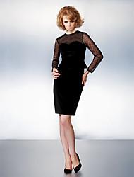 cheap -Sheath / Column Homecoming Dress Illusion Neck Long Sleeve Knee Length Velvet with Bow(s) 2021