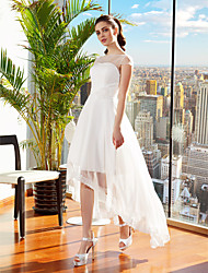 cheap -A-Line Wedding Dresses Bateau Neck Asymmetrical Chiffon Cap Sleeve Casual Vintage See-Through Backless with Sash / Ribbon Flower 2021