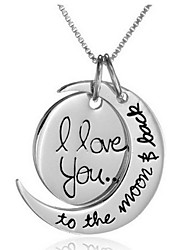 cheap -Pendant Necklace Engraved Crescent Moon i love you to the moon and back Ladies Alloy Silver Golden Necklace Jewelry For Daily Casual