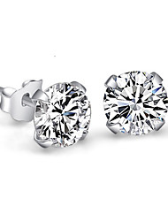 cheap -Women's Crystal Synthetic Diamond Stud Earrings Round Cut Ladies Elegant Simple Style Bridal Blinging Small Sterling Silver Crystal Rhinestone Earrings Jewelry White For Wedding Party Daily Casual