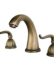cheap -Bathroom Sink Faucet - Retro Vintage Widespread Antique Brass Widespread Three Holes / Two Handles Three HolesBath Taps