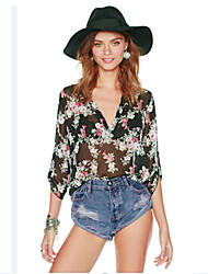 cheap -Women's Going out Basic Loose Shirt - Floral Mesh Screen Color