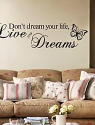 Недорогие -Слова и фразы Наклейки Простые наклейки Декоративные наклейки на стены, ПВХ Украшение дома Наклейка на стену Стена